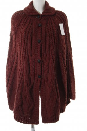 Burberry Coarse Knitted Jacket dark red cable stitch fluffy