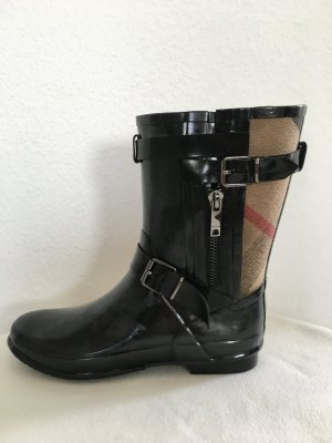 Burberry London Wellington laarzen zwart-zandig bruin Gemengd weefsel