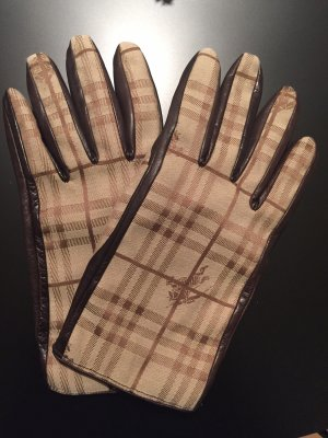 Burberry Leather Gloves dark brown-beige