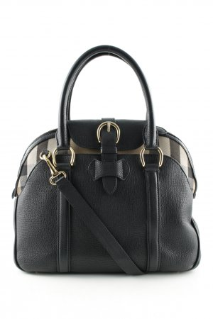 "Burberry Handtas ""Derby Leather House Check Milverton Tote Black"""