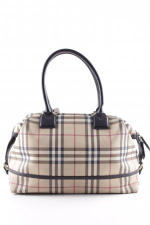 Burberry Carry Bag black-dark red check pattern classic style