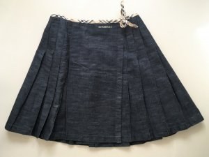 * BURBERRY * JEANS MINI FALTEN ROCK WICKEL ROCK blau schwarz anthrazit Karo Check Gr XS 34 32