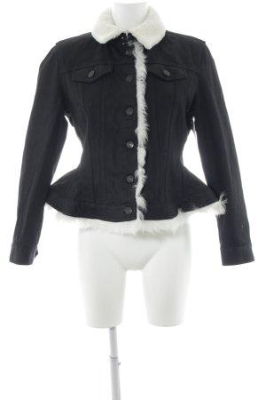 Burberry Veste en jean blanc cassé-noir style anglais