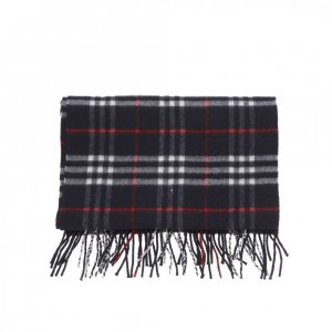 Burberry Fringed Scarf blue-red cashmere