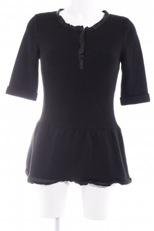 Burberry Short Sleeve Sweater black weave pattern elegant