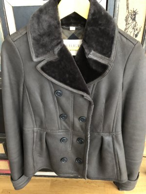 Burberry Leather Jacket dark grey