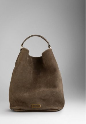 Burberry Large Suede Nubuk Leather Hobo Bag Brown