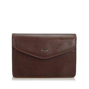 Burberry Clutch donkerbruin Leer