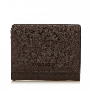Burberry Wallet dark brown leather