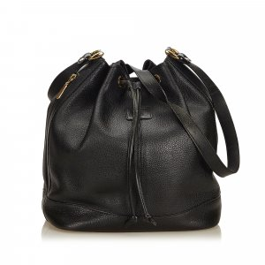 Burberry Leather Drawstring Bucket Bag