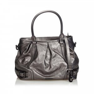 Burberry Satchel silver-colored leather