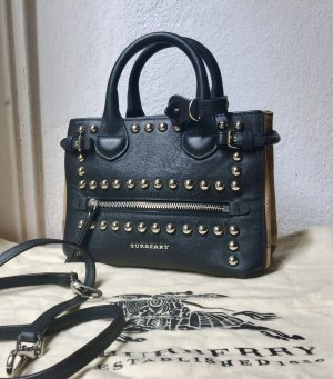 BURBERRY Leather Studded House Check Baby Banner Tote Bag Crossbody NEU!