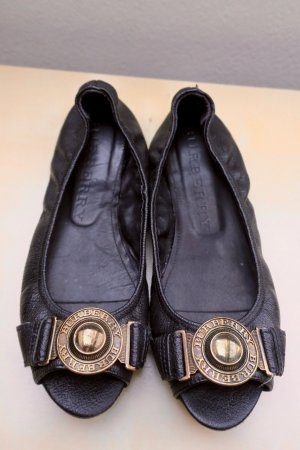 Burberry Peep Toe Ballerinas black-gold-colored leather