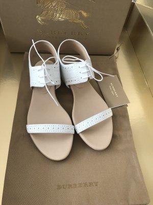 Burberry Brit Flip-Flop Sandals white leather