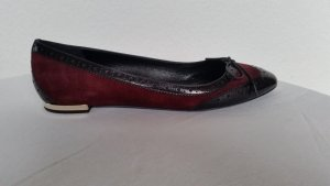 Burberry London, Ballerinas, Veloursleder/Leder, bordeauxrot/schwarz, 40, neu, € 500,-