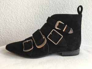 Burberry London, Flat Ankle Boots, Veloursleder, schwarz, 39, neu, € 775,-