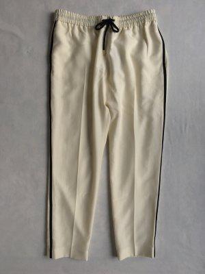 Burberry London Pantalon de sport blanc cassé-noir soie