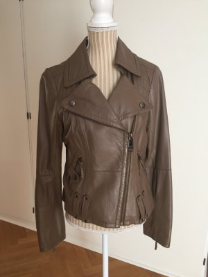 Burberry London Veste motard marron clair cuir