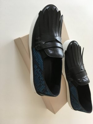 Burberry Shoes black-steel blue leather
