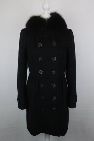 Burberry Mantel Wollmantel Gr. 34 schwarz Fellkragen Wolle & Kaschmir coat