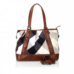 Burberry Mega Check Canvas Lowry Satchel