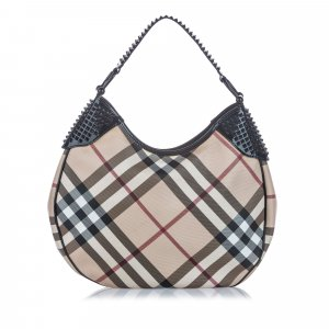 Burberry Nova Check Canvas Hobo Bag