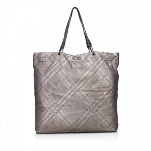 Burberry Nova Check Textured Leather Tote Bag