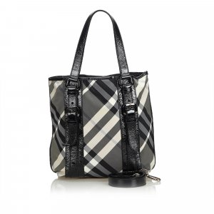 Burberry Patent Leather Plaid Tote Bag