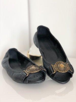 Burberry Bailarinas con tacón con punta abierta marrón-negro-color bronce