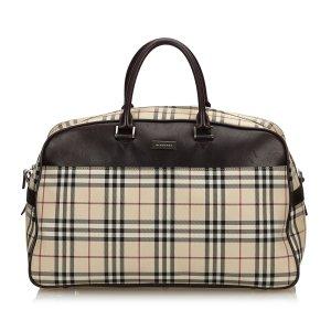 Burberry Plaid Boston Bag