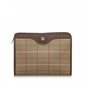 Burberry Plaid Canvas Clutch Bag