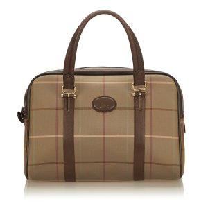 Burberry Plaid Canvas Handbag