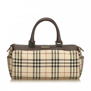 Burberry Plaid Coated Canvas Boston Bag