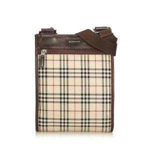 Burberry Plaid Coated Canvas Crossbody Bag