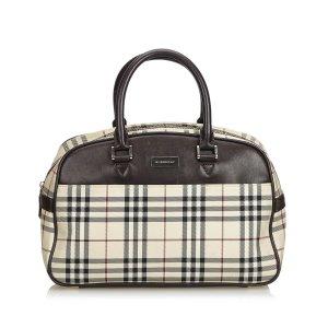 Burberry Plaid Coated Canvas Handbag