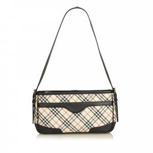 Burberry Plaid Coated Canvas Shoulder Bag