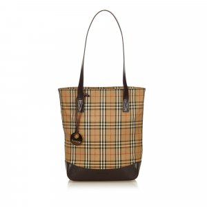 Burberry Plaid Coated Canvas Tote Bag