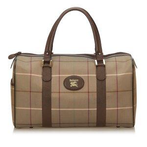 Burberry Plaid Jacquard Boston Bag