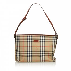 Burberry Plaid Jacquard Shoulder Bag