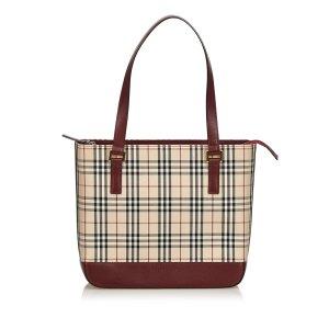 Burberry Plaid Jacquard Tote Bag