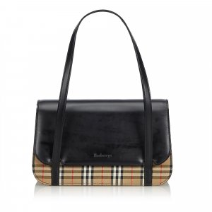 Burberry Plaid Leather Baguette