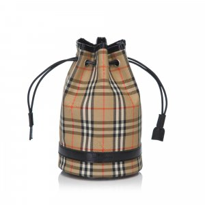 Burberry Plaid Nylon Bucket Bag