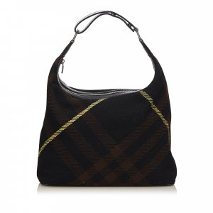 Burberry Plaid Wool Hobo Bag