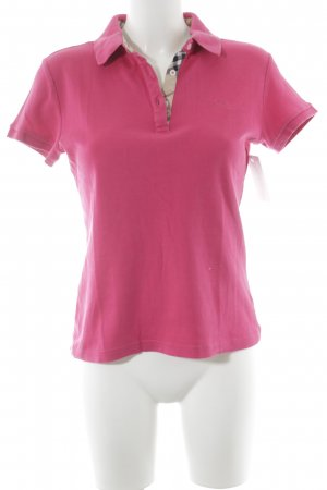 Burberry Polo Shirt magenta check pattern classic style