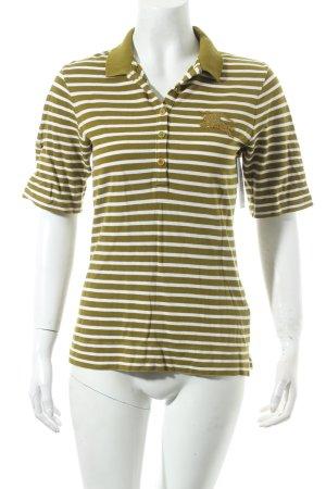 Burberry Polo-Shirt olivgrün-weiß Streifenmuster sportlicher Stil