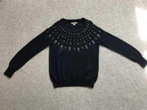 Burberry Jersey de cuello redondo azul oscuro-negro