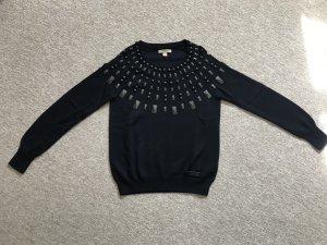 Burberry Kraagloze sweater donkerblauw-zwart
