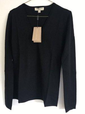 Burberry  Pullover mit V-Ausschnitt schwarz Gr M 38 Neu Merinowolle Pulli