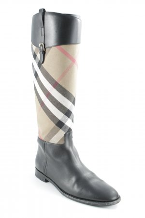 Burberry Riding Boots check pattern simple style