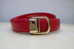 Burberry Cinturón de cuero rojo ladrillo-naranja dorado Cuero